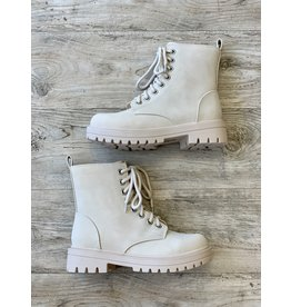 The Boston Faux Leather Lace Up Boots - Beige