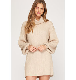 The Ruthie Balloon Sleeve Sweater Dress