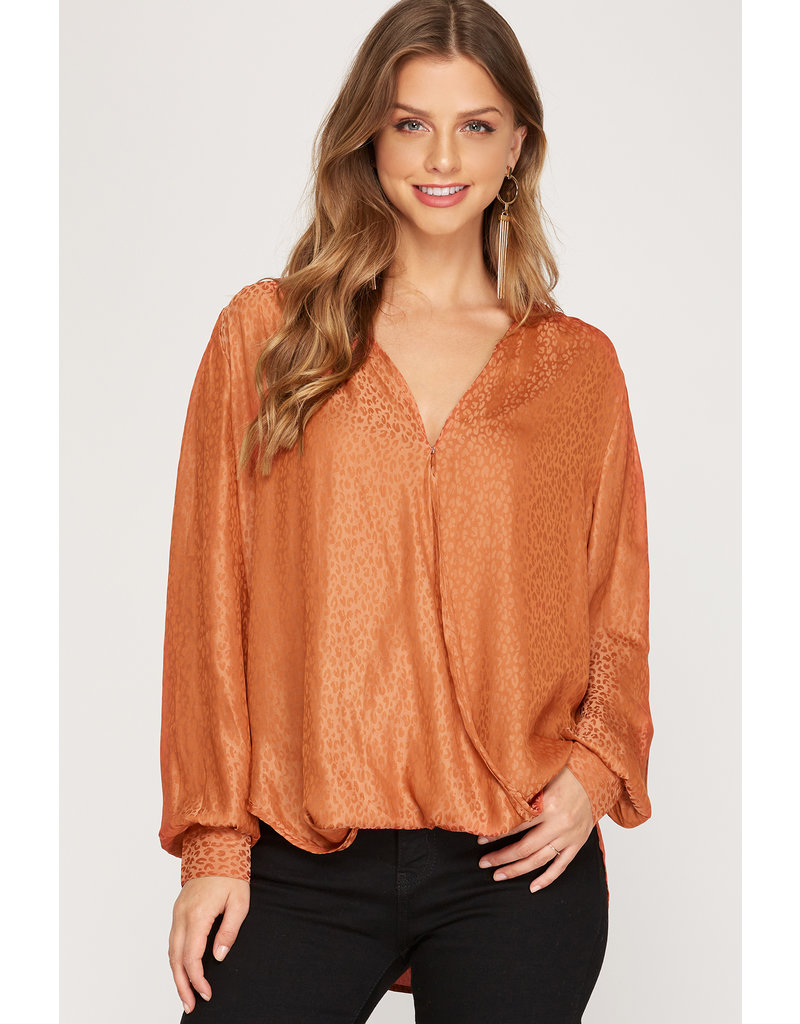 The Keep Smiling Leopard Satin Blouse