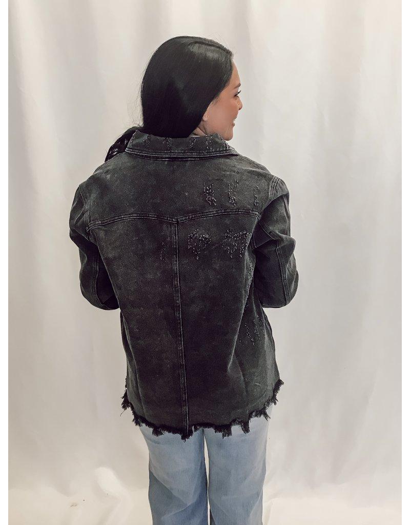 The Arbor Oversized Distressed Denim Jacket - Black