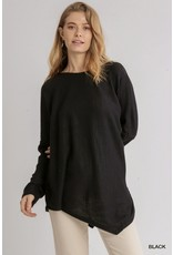 The Lowena Waffle Knit Asymmetrical Hem Top