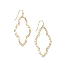 The Abbie Open Frame Earrings in White Crystal