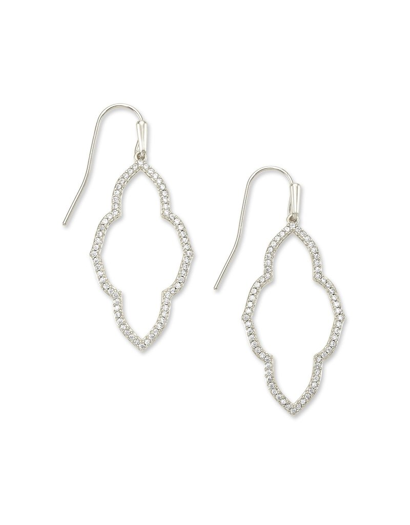 The Abbie Small Open Frame Earrings in White Crystal