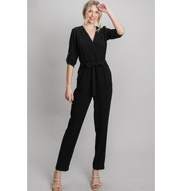 The Naja Notched Collar Jumpsuit - Black
