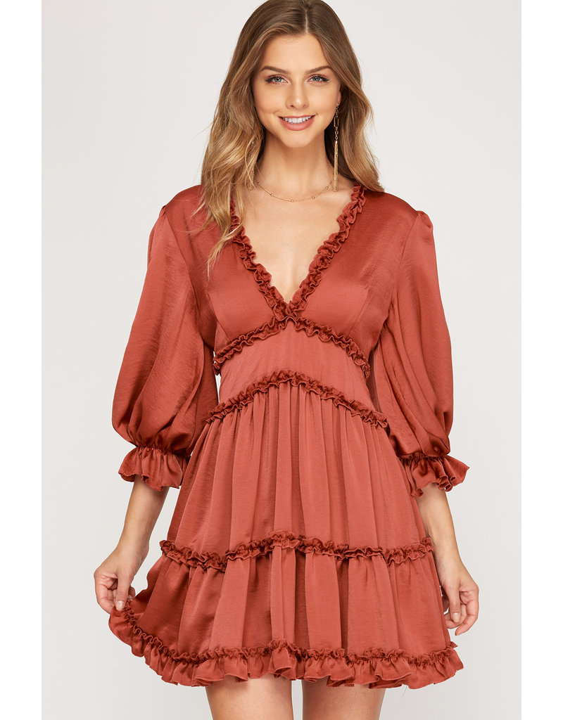 The Oak Hill Satin Tiered Dress