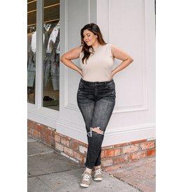 The Jocelyn Distressed Mom Jeans - Black