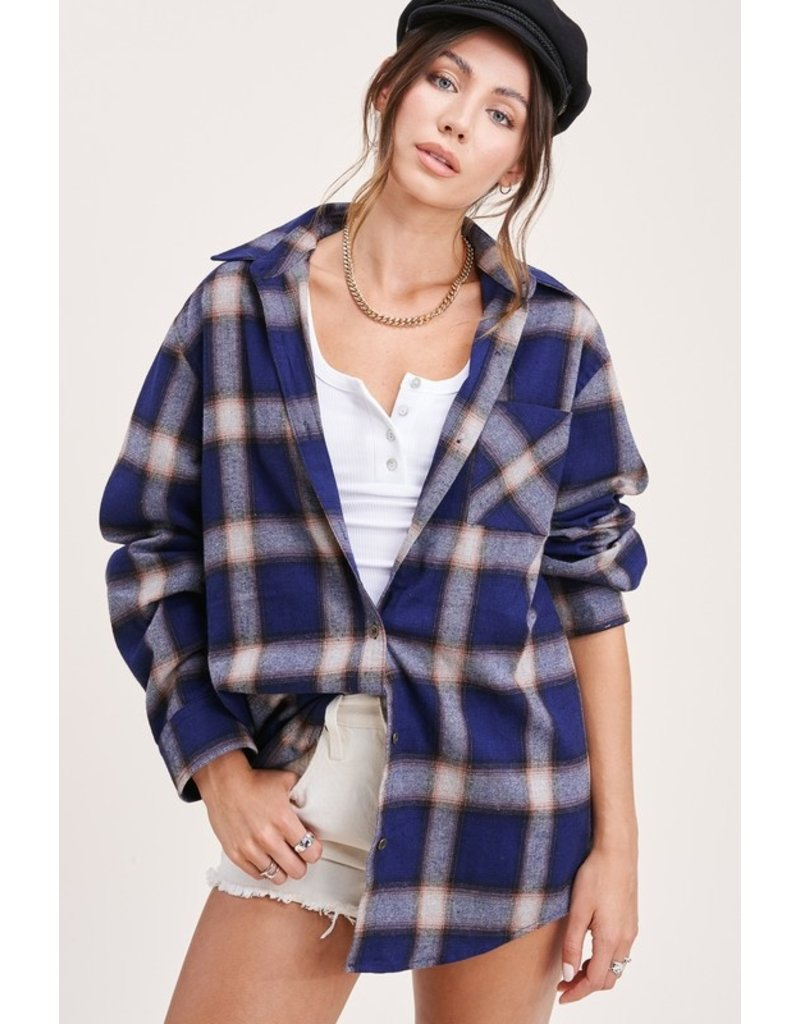 The Turned Season Oversized Plaid Button Down Top