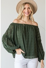 The Desire Swiss Dot Off The Shoulder Top