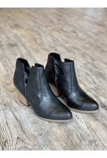The Frani Snake Embossed Booties - Black