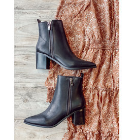 The Cindy Faux Leather Booties - Black