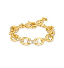 The Livy Chain Bracelet in White Crystal