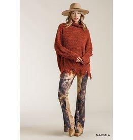 Umgee Melbourne Distressed Hem  Sweater