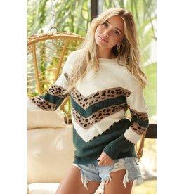 The Jynette Leopard Color Block Sweater