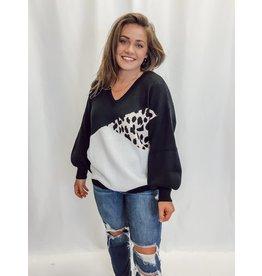 The Luka Leopard Color Block Sweater