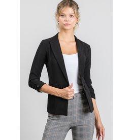 The Kaila Buttoned Cuff Blazer - Black