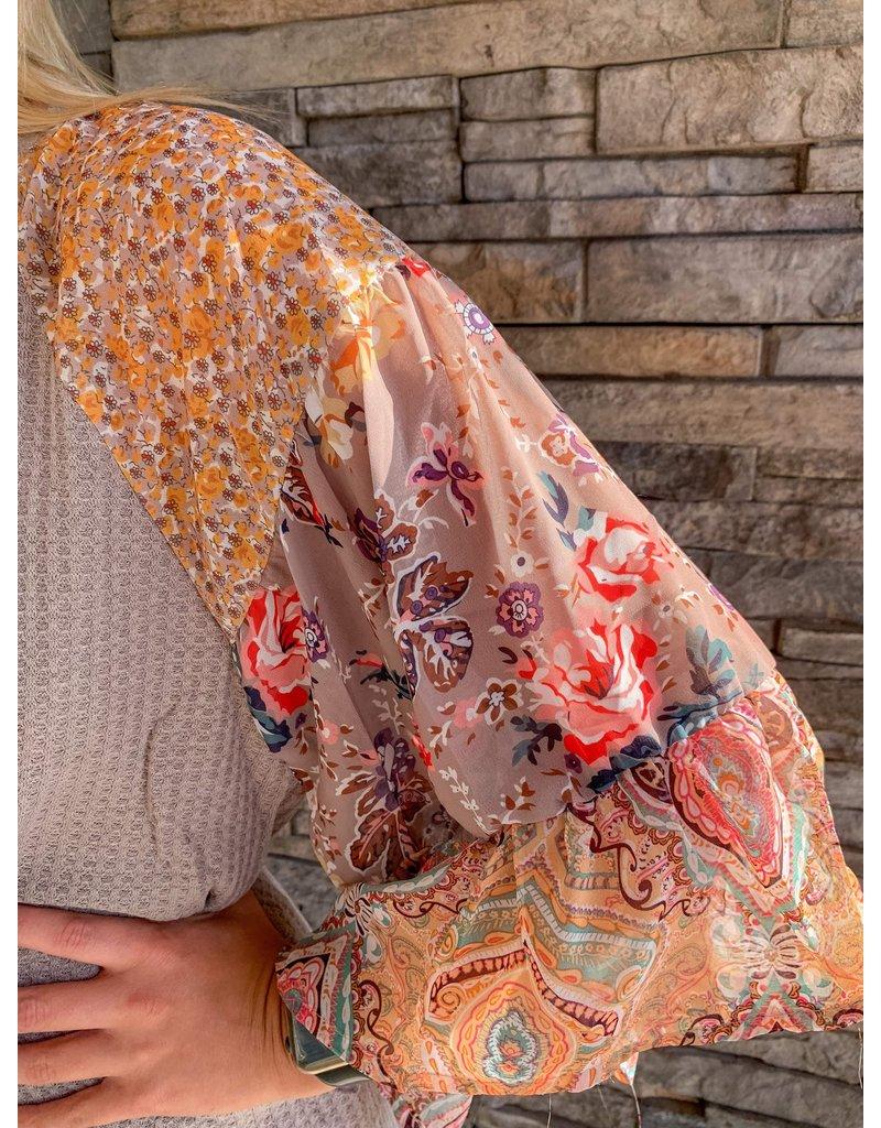 Umgee Kenna Floral + Paisley Waffle Knit Top