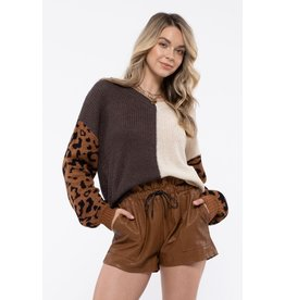 The Abby Color Block Leopard Sweater