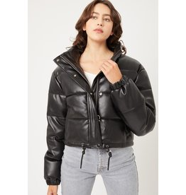 The Nikki Cropped Leather Puffer Jacket