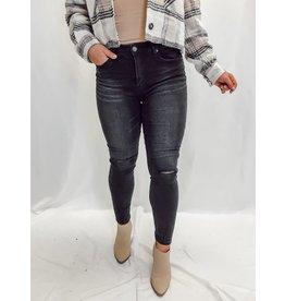 The Aniston Slit Knee Skinny - Black