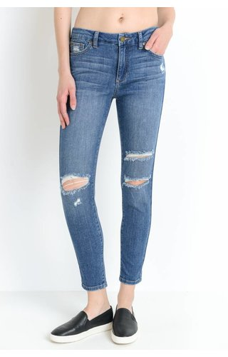 Just Black Denim H/R Skinny W/Knee Slits