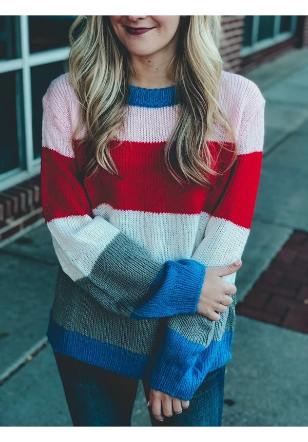 Color Block Cable Knit
