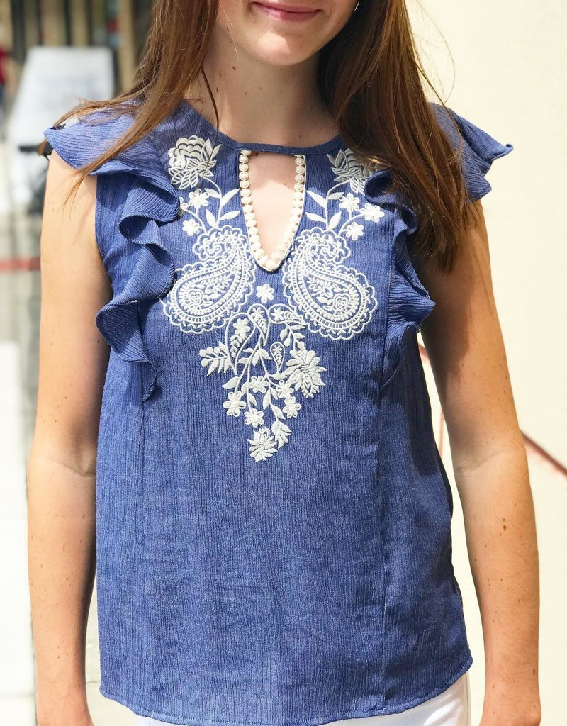 SLEEVELESS EMBROIDER TOP