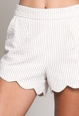 Wishlist Taupe Stripe Scallop Short