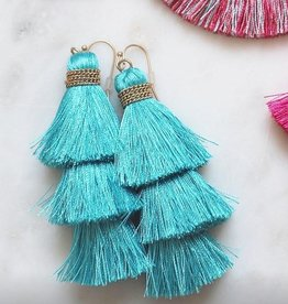 Fame Acessories TEAL: FRINGE TIER EARRING