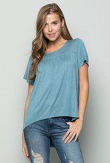 blues and greys DUSTY BLUE SHORT SLEEVE TOP