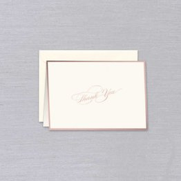 William Arthur Ecru Rose Gold Bordered Thank You Note