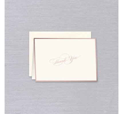 William Arthur William Arthur Ecru Rose Gold Bordered Thank You Note