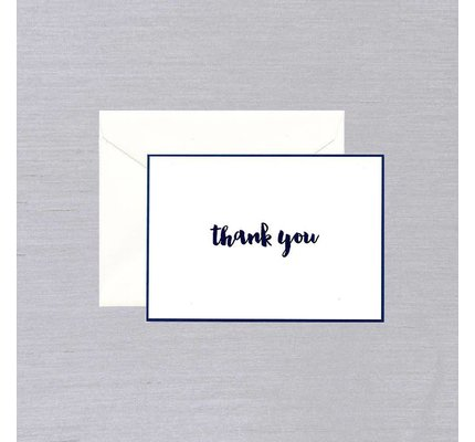 William Arthur White Indigo Bordered Thank You Note