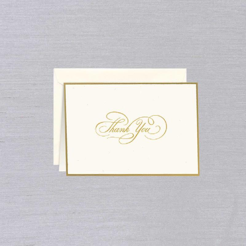 William Arthur Ecru Gold Bordered Thank You Note