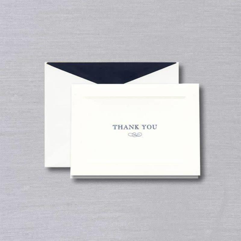William Arthur White Debossed Border White Thank You Note