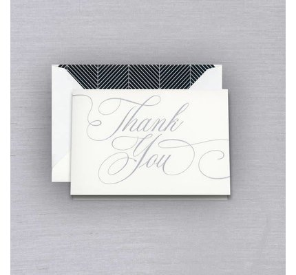 Vera Wang Silver Chevron Thank You Note