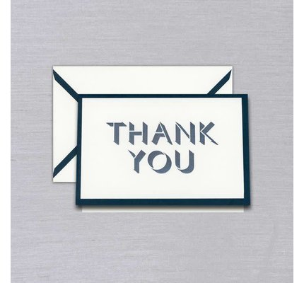 Vera Wang Gunmetal Bordered Thank You Card