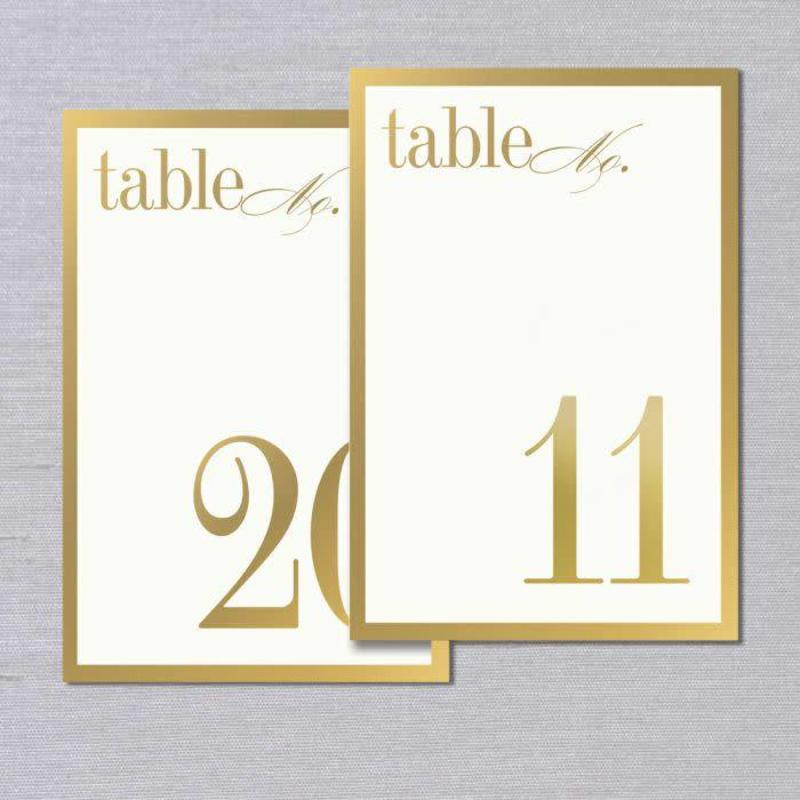 Vera Wang Gold Boredered Table Numbers 11-20