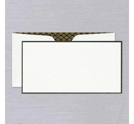 Crane Crane Pearl White Black Bordered Monarch Card