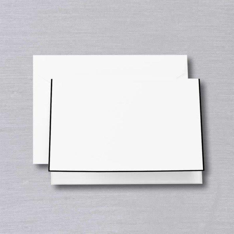Crane Crane Pearl White Black Bordered Note (Discontinued)