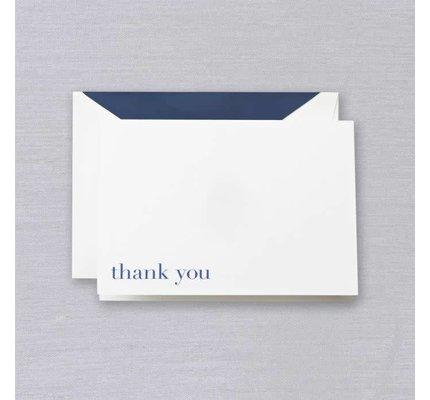 Crane Crane Pearl White Bodoni Blue Thank You Note