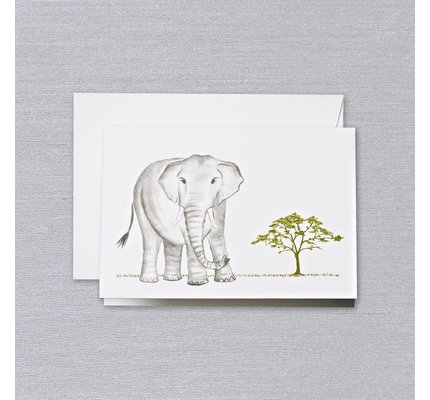 Crane Crane Pearl White Brushstroke Elephant Note