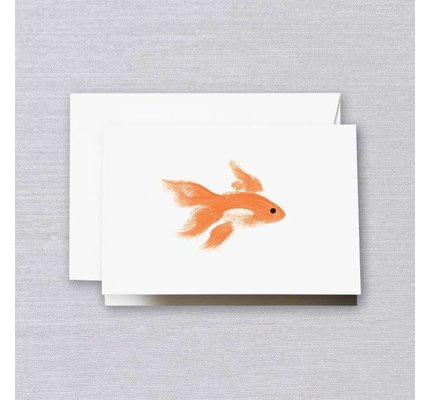 Crane Crane Pearl White Brushstroke Goldfish Note