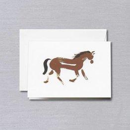 Crane Crane Pearl White Brushstroke Horse Note