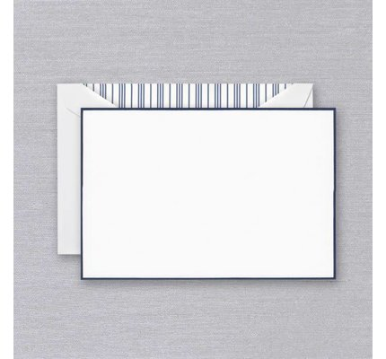 Crane Crane Pearl White Navy Bordered Card
