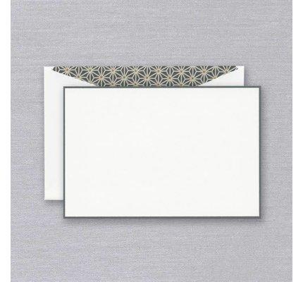 Crane Crane Pearl White Charcoal Bordered Card