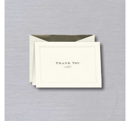 William Arthur Ecru Beaded Border Thank You Note