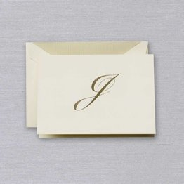Crane Crane Ecru Gold Initial J Note