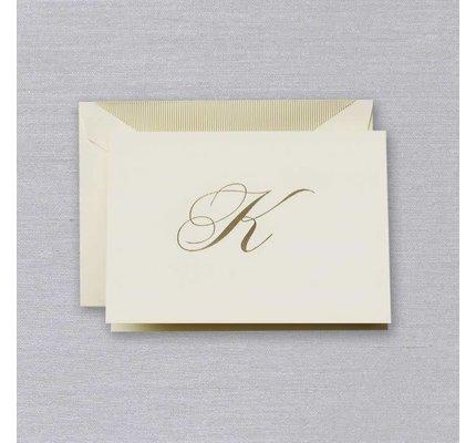 Crane Crane Ecru Gold Initial K Note