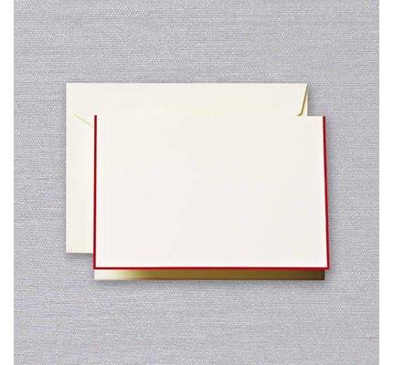 Crane Crane Ecru Red Bordered Note