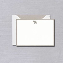 Crane Crane Pearl White Elephant Silver Bordered Card